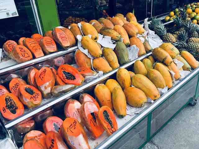 Picture of Papaya Fruit at a Market - great for lightening skin tone