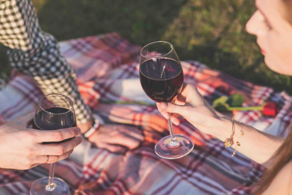 Two people drinking red wine in the park